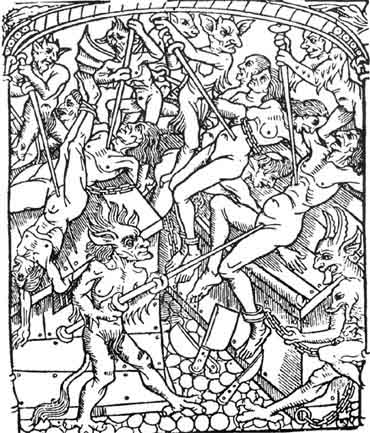 Medieval woodcut depicting demons