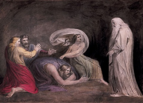 Henry Fuseli; Samuel appearing to Saul in the Presence of the Witch of Endor, 1777. A scene from the Biblical book of Samuel. The armies of the Philistines are gathering to attack Israel; the prophet Samuel is dead, and Saul has driven out those that had familiar spirits, and the wizards. But, feeling abandoned by God, Saul goes in disguise to hypocritically seek advice from a witch.