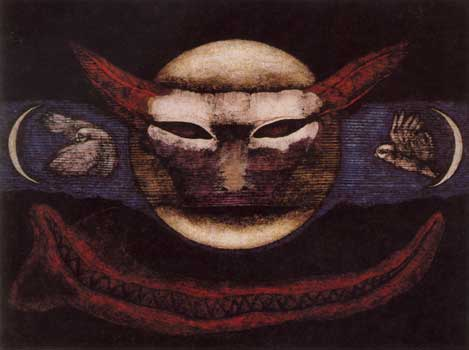 """Flight of Maat Moon, Meinrad Craighead. Meinrad sees with the """"All Seeing Eye of the Mother"""" and knows that all she sees is sacred... She connects the visible and the invisible in a true evocation of the soul of nature."""